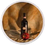 Wine With An Apple And Cheese Round Beach Towel