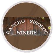Winery Sign Round Beach Towel