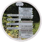 Winery Street Sign In The Sonoma California Wine Country 5d24601 Square Round Beach Towel