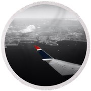 Wing Tip View Over Long Beach Ca Sc Round Beach Towel