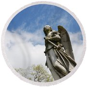 Winged Angel Round Beach Towel by Jennifer Ancker