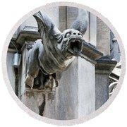 Winged Gargoyle Duomo Di Milano Italia Round Beach Towel