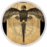 Winged Rider Round Beach Towel