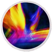 Wings Of Color Abstract  Round Beach Towel
