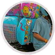 Winnie The Pooh On A Scooter In Bangkok-thailand Round Beach Towel
