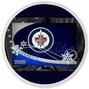 Winnipeg Jets Christmas Round Beach Towel