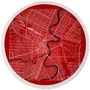 Winnipeg Street Map - Winnipeg Canada Road Map Art On Color Round Beach Towel