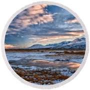 Winter Afternoon Round Beach Towel