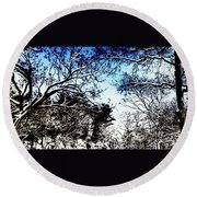 Winter Along The Bronx River Round Beach Towel