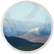 Winter Arrives From Above Round Beach Towel