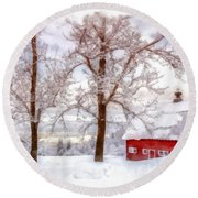 Winter Arrives Watercolor Round Beach Towel