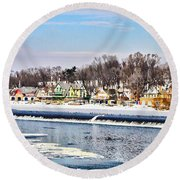 Winter At Boathouse Row In Philadelphia Round Beach Towel
