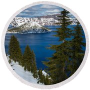 Winter At Crater Lake Round Beach Towel
