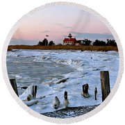Winter At East Point Lighthouse  Round Beach Towel