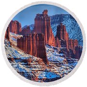 Winter At Fisher Towers Round Beach Towel