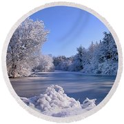 Winter At Lake Marmo Round Beach Towel