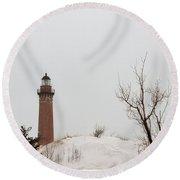 Winter At Silver Lake Round Beach Towel