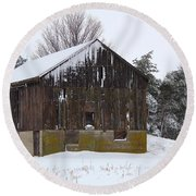 Winter At The Barn Round Beach Towel