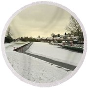 Winter At The Basin  Round Beach Towel