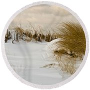 Winter At The Beach 3 Round Beach Towel