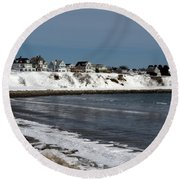 Winter At The Coast Round Beach Towel