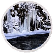Winter At The Creek Round Beach Towel