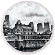 Winter At The Fairmount Waterworks In Black And White Round Beach Towel