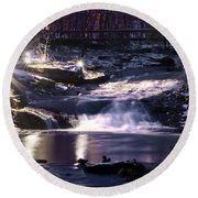 Winter At The Woodlands Waterfall In Wilkes Barre Round Beach Towel