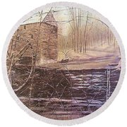 Winter At Wolf Pen Mill Round Beach Towel