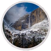 Winter At Yosemite Falls Round Beach Towel by Bill Gallagher