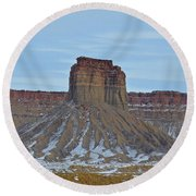 Winter Banded Butte Round Beach Towel