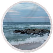 Winter Beach Day Lavallette New Jersey Round Beach Towel