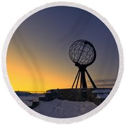 Winter Beyond The Arctic Circle Round Beach Towel by Ulrich Schade