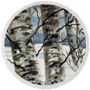 Winter Birches Round Beach Towel