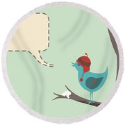 Winter Bird Round Beach Towel
