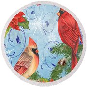 Winter Blue Cardinals-joy Card Round Beach Towel