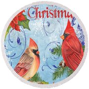 Winter Blue Cardinals-merry Christmas Card Round Beach Towel