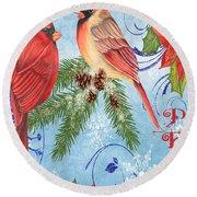 Winter Blue Cardinals-peace Card Round Beach Towel