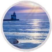 Winter Blues Round Beach Towel