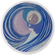 Winter Breath Round Beach Towel