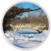 Winter Bridge Round Beach Towel