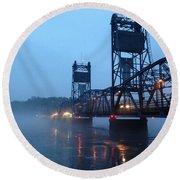 Winter Bridge In Fog Round Beach Towel