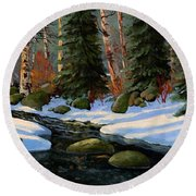 Winter Brook Round Beach Towel