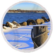 Winter By The Bay Round Beach Towel