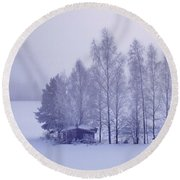 Winter Cabin In The Woods Round Beach Towel