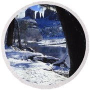 Winter Cathedral Rock Round Beach Towel