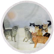 Winter Cats Round Beach Towel by Ditz