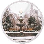 Winter - City Hall Fountain - New York City Round Beach Towel