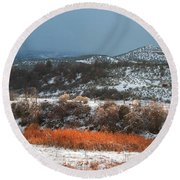 Winter Colors 3 Round Beach Towel