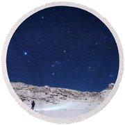 Winter Constellations Round Beach Towel